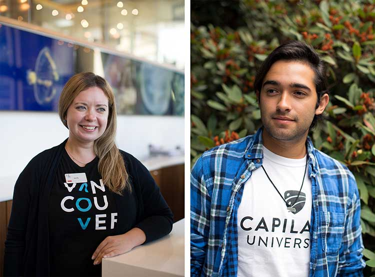Students Kate K. at Tourism Vancouver and Gabriel M. at the North Vancouver campus.
