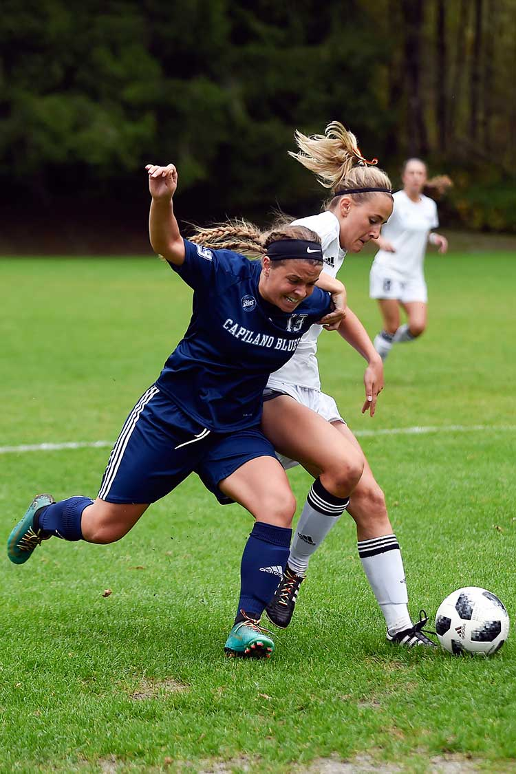 The Capilano Blues lose 3-1 to Vancouver Island University on Saturday, Sept. 29, 2018.