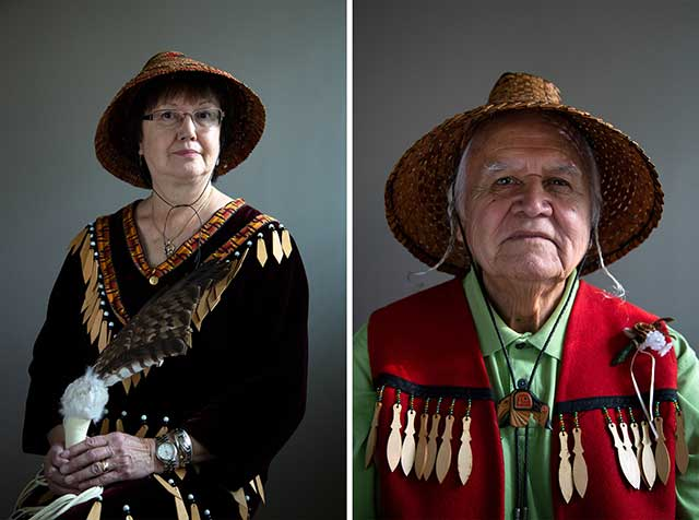 Elders-in-residence Sesemyia (Rose Nahanee) and Sla-holt (Ernie George) sit for portraits on Tuesday, Nov. 13, 2018.
