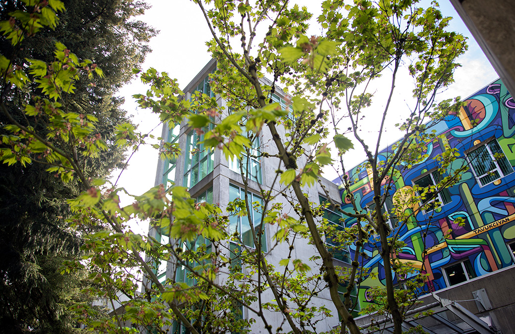 Birch Building walkway with view of mural