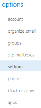 Webmail signature settings