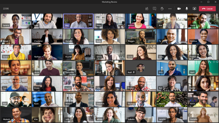 Screenshot of Large Gallery mode enabled with up to 49 video feeds.
