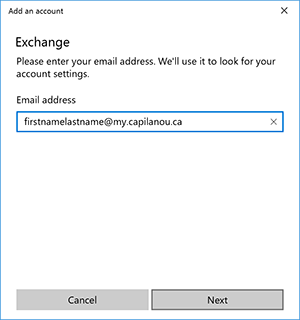 Windows Mail enter email address
