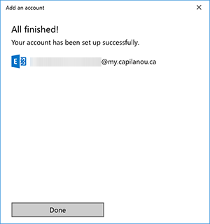 Windows Mail Done adding account