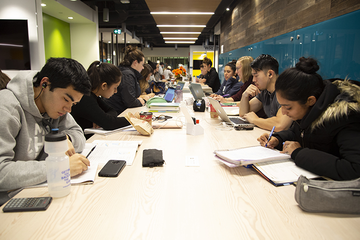 Students study together at the Leaning Commons