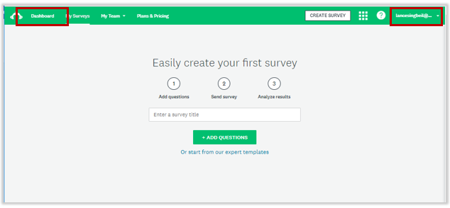 Screenshot of survey creation page.